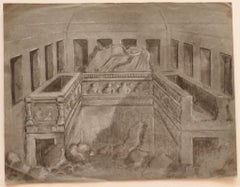 Interior - Original Pencil and Chalk on Paper - Early 20th Century