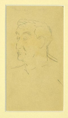 Young Boy - Original Drawing on Paper by Laurent Bonet - 1880s