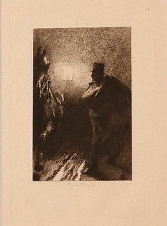 The Darkness - Original Etching by Ricardo de los Ríos - 1880 ca.