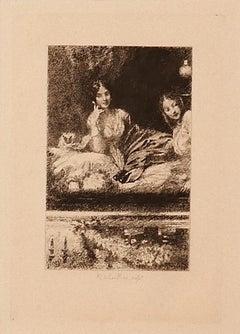 In The Theater - Original Etching by Ricardo de los Ríos - 1880 ca.