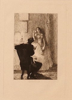 Gallantry - Original Etching by Ricardo de los Ríos - 1880 ca.