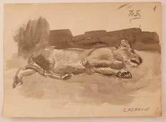 The Dog - Original Watercolor on Paper by R. Cazanove - Mid-20th Century