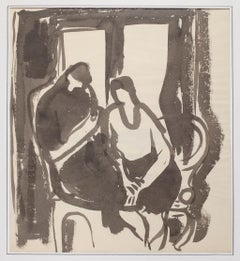 The Couple - Original Watercolor on Paper by Herta Hausmann - 20th Century