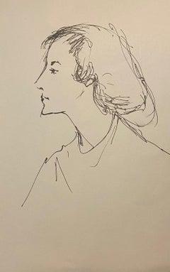 Portrait - Original Ink on Paper - 1950s