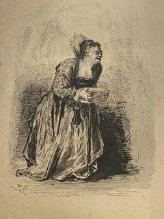 Figure of Woman - Original Ink on Paper - 1897