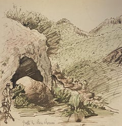 Caves - Original China Ink and Watercolor- Late 19th Century
