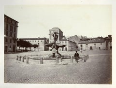 Piazza Barberini - Original Photograph by Franceso Sidoli - Late 19th Century
