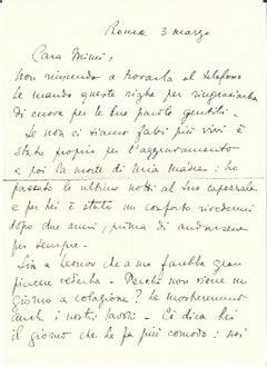 Autograph Letter by Stanislao Lepri - 1950s