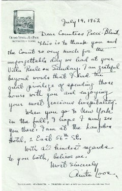 Autograph Letter Signed by Anita Loos - 1952