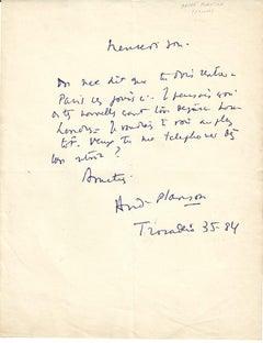 Autograph by Planson - Autograph Letter Signed by André Planson - 1950/6