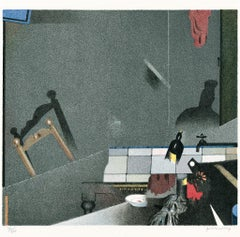 In the Kitchen - Original Lithograph by Gianfranco Ferroni - 1973