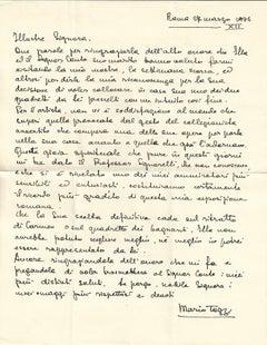 Autograph Letter: Esposizione romana e gioia spirituale by Mario Tozzi - 1934