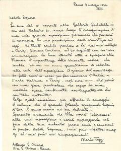 Autograph Letter of Invitation by Mario Tozzi - 1934