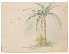Palm Tree - Original Watercolor - Late 20th Century