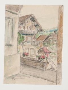 Mountain Village - Original Pencil and Pastel Drawing by Werner Epstein - 1957