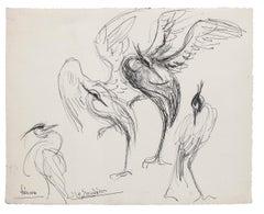 Bird - Original Pen Drawing - Mid-20th Century