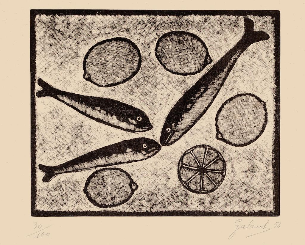 Fishes and Lemons  - Original Woodcut by Nicola Galante - 1954