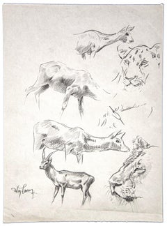 Gazzelle, Gnu, Tiger - Original Pencil by Wilhelm Lorenz - Mid-20th Century