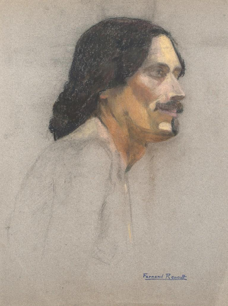 Portrait - Original Pastel and Charcoal by Fernand Renault - Early 20th Century