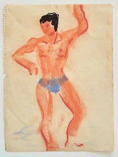 Trainer - Original Pastel on Paper - Mid-20th Century