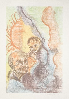 Figures  - Original Lithograph on Paper by Carlo Ballicu - 1990s