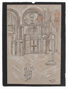 Cityscape - Original Pencil on Paper - 1943
