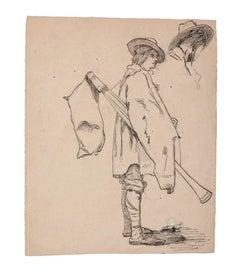 Musician - Original Pencil and Pen on Paper - 19th Century