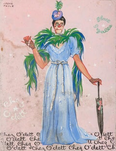 Circus Character - Original Tempera by J. René Paulz - Mid-20th Century