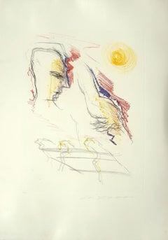 Figure - Original Lithograph by Ernesto Treccani - Late 20th Century