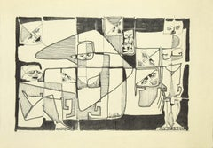 Composition - Original China Ink by Luigi Cipallone - 1970s