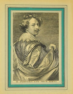 Portrait of Lucas Vorsterman - Original Etching by Antoon Van Dyck - 1740 ca