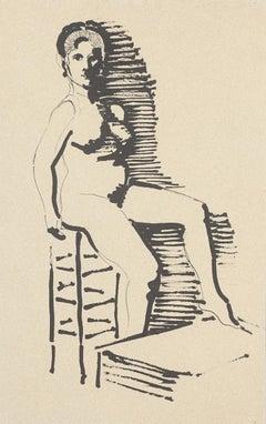Nude - Original China Ink - 1950 ca.
