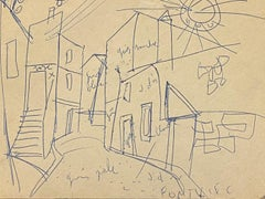 Road - Original Pen Drawing on Paper - Early 20th Century