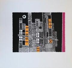 The Enchanted City - Original Woodcut Print by Luigi Spacal - 1976