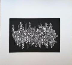 The City on the Mirror - Original Woodcut Print by Luigi Spacal - 1970s