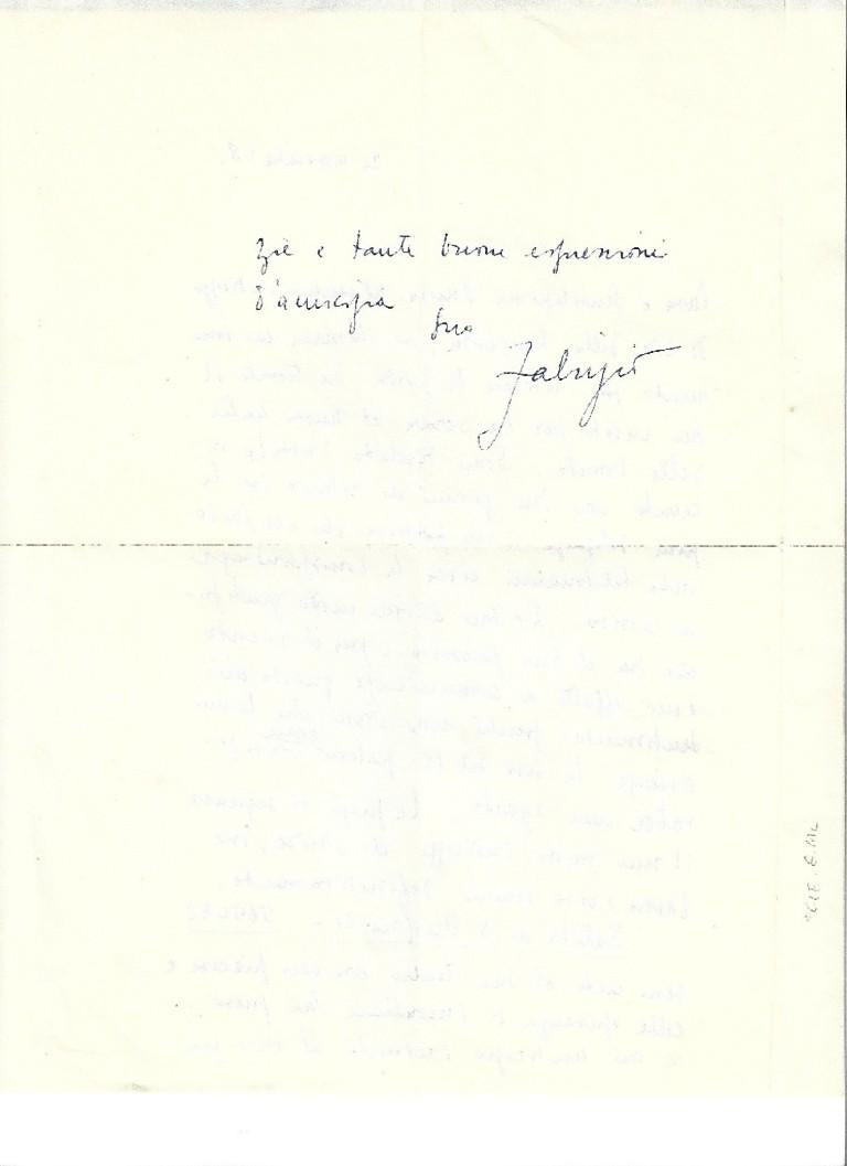 Autograph Letter Signed by Fabrizio Clerici - 1958 For Sale 1