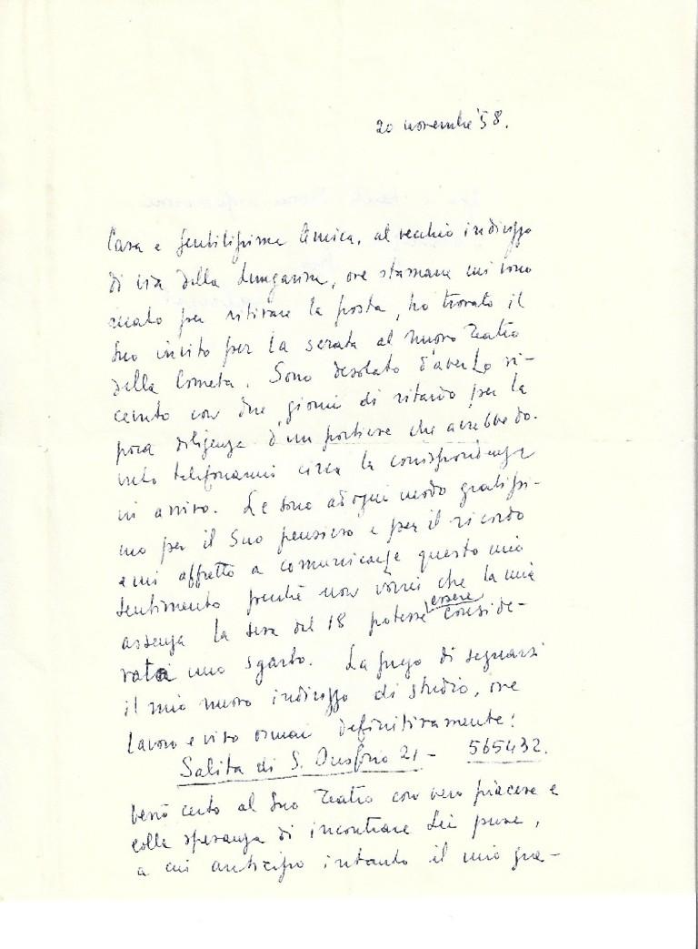 """This is a Autograph Letter Signed by Fabrizio Clerici to the Countess A.L. Pecci-Blunt.  November 20th, 1958. Signed """"Fabrizio"""". One page, double-sided. In Italian. Excellent condition, perfectly readable thanks to an elegant calligraphy.  Thank-you"""
