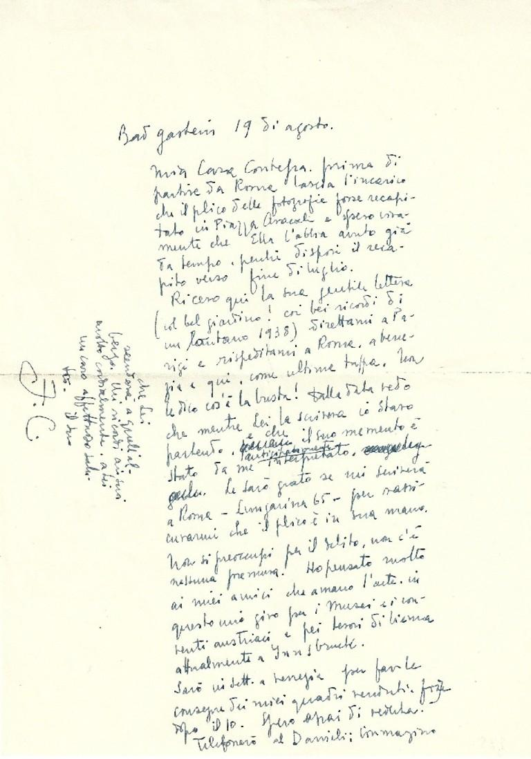 A Journey to Austria - Autograph Letter Signed by Fabrizio Clerici - 1952