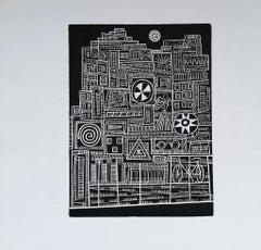 City in the Night - Original Woodcut Print by Luigi Spacal - 1970s