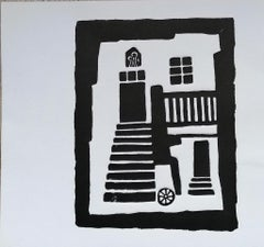 Istrian Courtyard - Original Woodcut Print by Luigi Spacal - 1970s