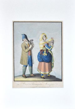 Costume of Bisaccia - Original Ink and Watercolor on Paper - 1830 ca.