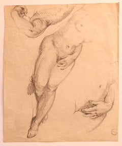 Nude - Original Pencil Drawing on Paper by Paul Garin - 1950s