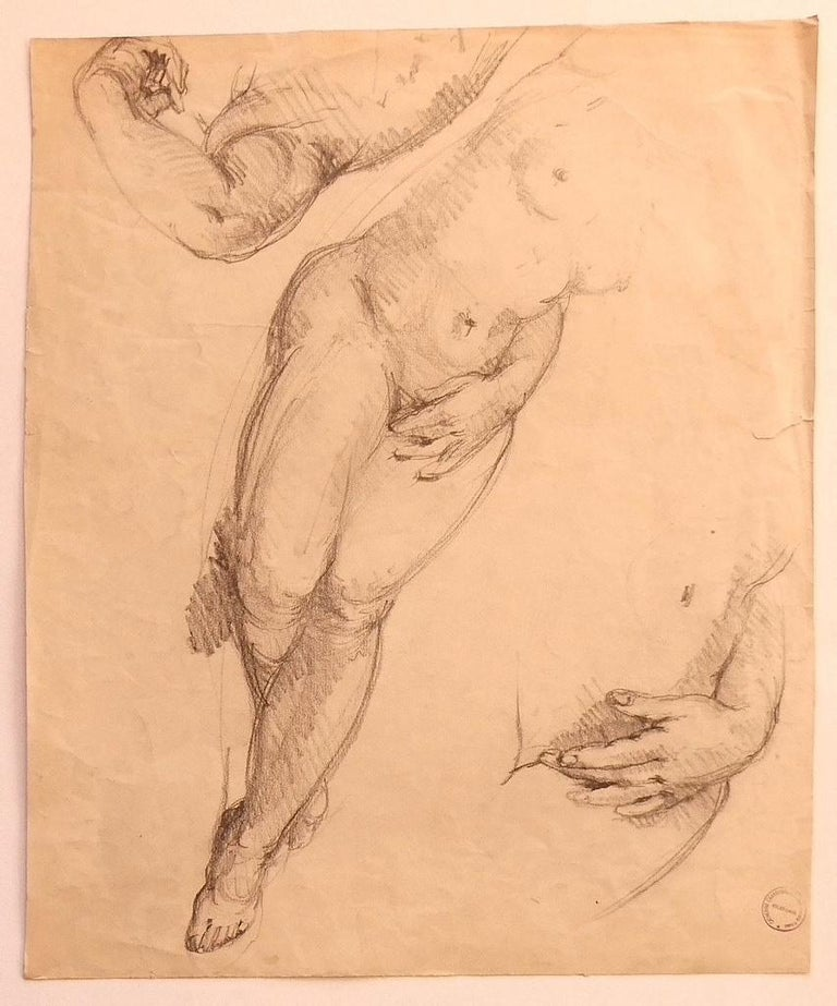 """Nude is a wonderful original pencil drawing on paper, realized by the French artist Paul Garin (Nice, 1898-1963) in the mid-20th Century.  In aged conditions with a cut on the left margin.  With a ink stamp on the lower right corner: """"Catherine"""