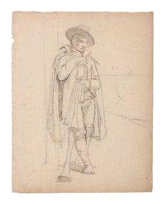 Musician - Original Pencil on Paper - 19th Century