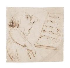 The Music Teacher - Original Drawing on Paper - 19th Century