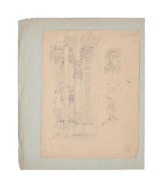 Architectural Study  - Original Pencil Drawing on Paper - 19th Century