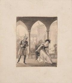 Interior Meeting - Original Pencil on Paper - 19th Century