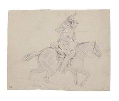 Knight - Original Pencil on Paper - 19th Century
