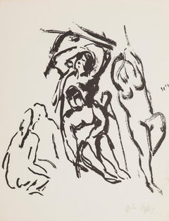 Figures - Original Black Ink on Paper - Mid-20th Century