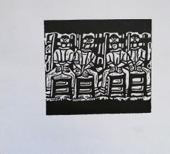 The Martyrs of Basovizza - Original Woodcut Print by L. Spacal - 1950 ca.